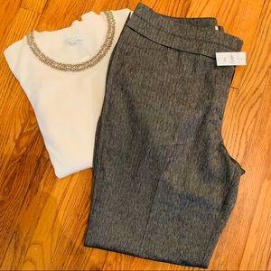 LOFT Herringbone Trouser Pants
